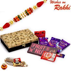 Buy Black & Godlen Gift Box With Chocolate Hamper - Cho1745 online