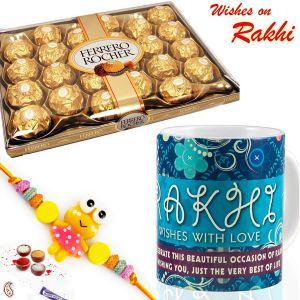 Buy Aapno Rajasthan 24 Ferrero Rocher Chocolates With Mug & Kids Rakhi - Hpr17180 online