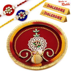 Buy Aapno Rajasthan Charming Om Pooja Thali & Chocolates With Set Of 2 Rakhis - Hpr1729 online
