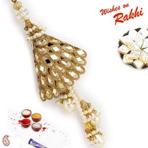 Buy Aapno Rajasthan Kundan Embellished Golden Lumba Rakhi - Lm171171 online