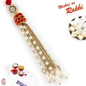 Buy Rakhi For Abroad_aapno Rajasthan Ad & White Beads Embellished Lumba Rakhi - Int_lm171180 online