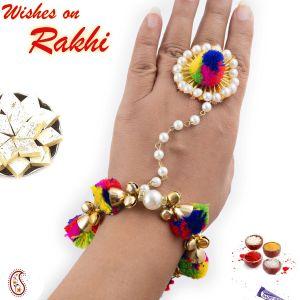 Buy Rakhi For Abroad_aapno Rajasthan Multicolor Cotton Balls Embellished Lumba Rakhi - Int_lm171194 online