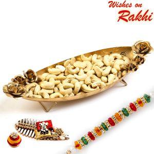 Buy Rakhi For Uae - Boat Shape Gold Finish Tray With Dry Fruits And Rakhi Hamper - Uae_mb1705 online