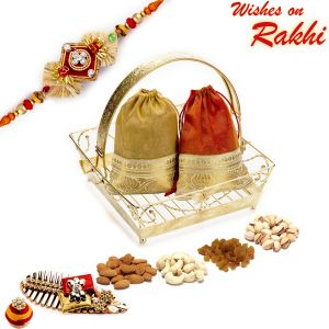 Buy Aapno Rajasthan Golden Tray Style Dryfruit Gift Pack With Pouches & 1 Bhaiya Rakhi - Mb17106 online