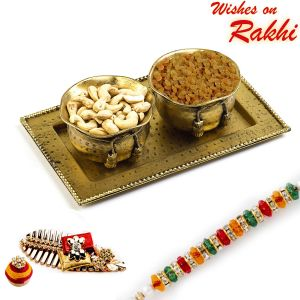 Buy Rakhi For Usa- Aapno Rajasthan Dry Fruit Bowl Set In Antique Finish And Rakhi Hamper - Us_mb1711 online