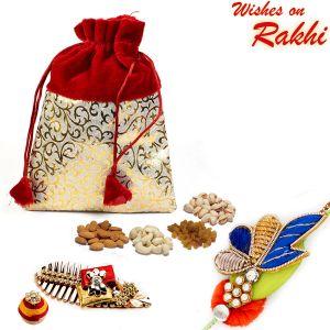 Buy Aapno Rajasthan Red & Golden Velvet Touch Dry Fruit Pouch And Rakhi Hamper - Mb1715 online