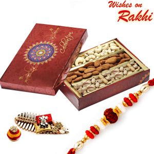 Buy Rakhi For Usa- Aapno Rajasthan Festive Box With Cashew, Almonds, Pistachios And Rakhi - Us_mb1730 online