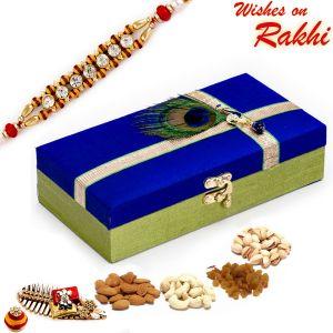 Buy Aapno Rajasthan Lock Dryfruit Box With 1 Bhaiya Rakhi - Mb1776 online