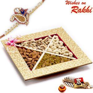 Buy Aapno Rajasthan Golden Square Dryfruit Gift Box With 1 Bhaiya Rakhi - Mb1795 online