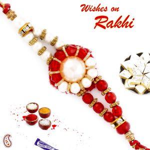 Buy Aapno Rajasthan White Pearl & Red Crystal Beads Thread Rakhi - Prl17532 online