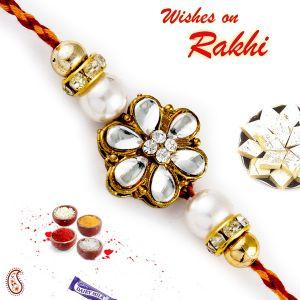 Buy Aapno Rajasthan Ad & Kundan Studded Pearl Rakhi - Prl17557 online