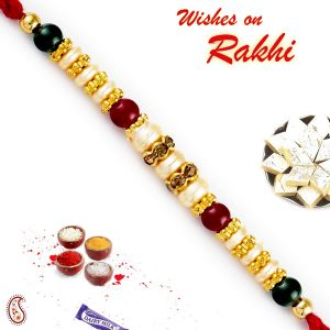 Buy Rakhi For Abroad_aapno Rajasthan Multicolor Round Beads Pearl Rakhi - Int_prl17577 online