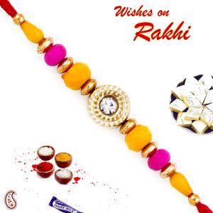 Buy Aapno Rajasthan Pink & Yellow Beads Beautiful Rakhi - Prs1704 online