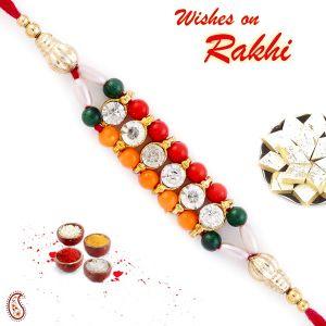 Buy Rakhi For Uae- Aapno Rajasthan Colorful Joint Beads Mauli Rakhi - Uae_prs1720 online