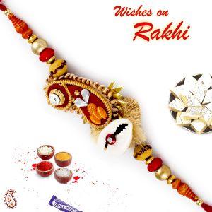 Buy Aapno Rajasthan Paisley Design Rich Zardosi Rakhi - Prs17213 online