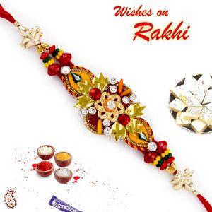 Buy Aapno Rajasthan Colorful Floral Motif Beads Rakhi - Prs17217 online
