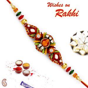 Buy Aapno Rajasthan Ad Studded Swastik Kalash Motif Rakhi - Prs17218 online