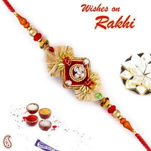 Buy Rakhi For Abroad_aapno Rajasthan Beige Base Om & Swastik Motif Rakhi - Int_prs17222 online