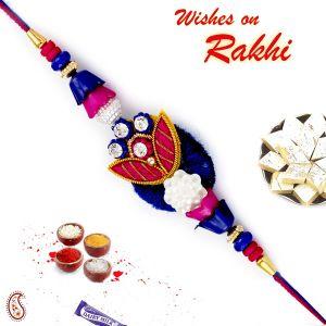 Buy Aapno Rajasthan Blue & Pink Beads Studded Zardsoi Rakhi - Prs17227 online