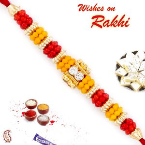 Buy Aapno Rajasthan Colorful Beads Red Mauli Thread Rakhi - Prs1735 online