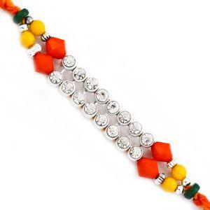 Buy Rakhi For Uae- Aapno Rajasthan Wonderful Multicolor Beads & Ad Studded Mauli Thread Rakhi - Uae_prs1765 online