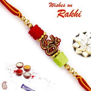 Buy Rakhi For Abroad_aapno Rajasthan Colorful Beads Studded Om Mauli Thread Rakhi - Int_prs1781 online