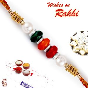 Buy Aapno Rajasthan Multicolor Beads Mauli Thread Rakhi (code - Prs1796_ag18) online