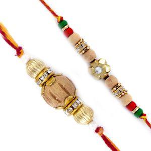 Buy Rakhi For Uae- Aapno Rajasthan Set Of 2 Beautiful & Elegant Sandalwood Rakhi - Uae_pst17218 online
