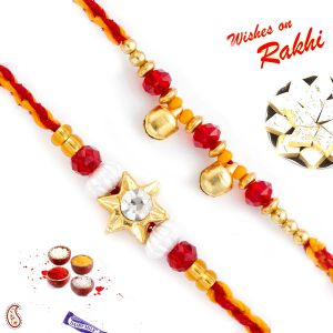Buy Rakhi For Abroad_aapno Rajasthan Set Of 2 Red & Gold Beads Ad Studded Rakhi - Int_pst17247 online