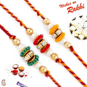 Buy Aapno Rajasthan Set Of 3 Green, Red & Yellow Beads Studded Rakhis - Pst17301 online