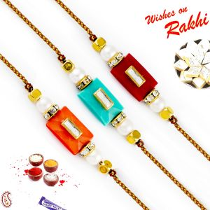 Buy Rakhi For Abroad_aapno Rajasthan Set Of 3 Rectangular Motif Pearl Rakhi - Int_pst17306 online