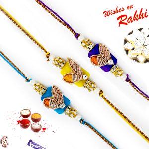Buy Aapno Rajasthan Set Of 3 Rich Zardosi Work Yellow & Blue Rakhi - Pst17309 online