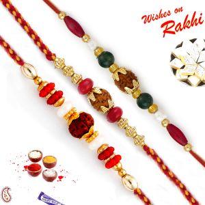 Buy Aapno Rajasthan Set Of 3 Multicolor Beads Embellished Rudraksh Rakhi - Pst17317 online