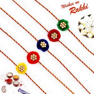 Buy Aapno Rajasthan Set Of 5 Ad Studded Floral Motif Rakhi - Pst17503 online