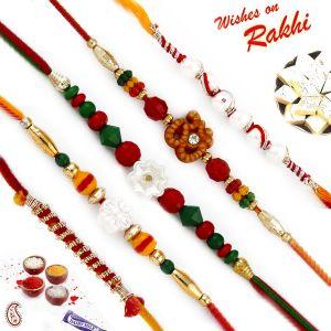Buy Aapno Rajasthan Set Of 5 Multicolor Beads Embellished Traditional Rakhis - Pst17513 online