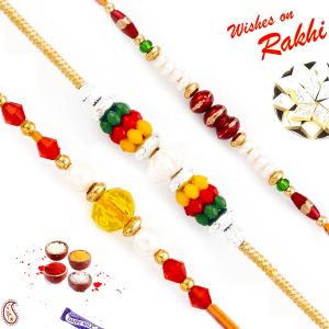 Buy Aapno Rajasthan Set Of 3 Pearl And Multi Coloured Beads Rakhi online