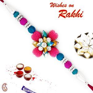 Buy Aapno Rajasthan Blue & Pink Beads Studded Floral Shape Rakhi - Rb17629 online