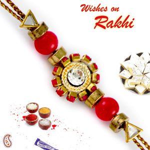 Buy Aapno Rajasthan Red Solid Beads Embellished Floral Motif Rakhi - Rb17655 online