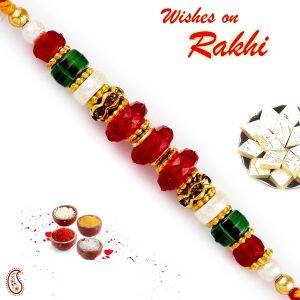 Buy Rakhi For Abroad_aapno Rajasthan Red & Green Crystal Beads Embellished Rakhi - Int_rb17664 online