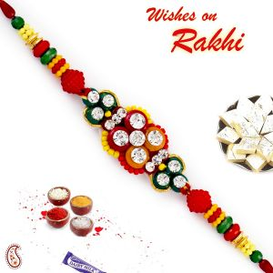 Buy Aapno Rajasthan Charming Ad & Solid Beads Studded Rakhi - Rb17683 online