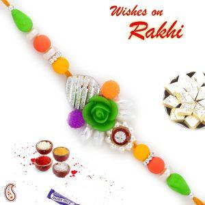Buy Rakhi For Abroad_aapno Rajasthan Multicolor Beads Studded Rose Motif Rakhi - Int_rb17692 online