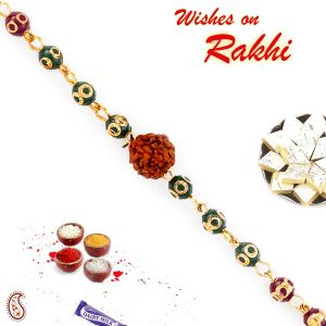 Buy Aapno Rajasthan Multicolor Beads Golden Chain Rakhi With Solo Rudraksh - Rd17402 online