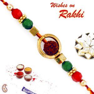 Buy Aapno Rajasthan Rudraksh With Circular Cover Rakhi - Rd17404 online