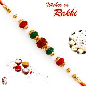 Buy Rakhi For Uae- Aapno Rajasthan Pearl & Beads Studded Beautiful Rudraksh Rakhi - Uae_rd17410 online
