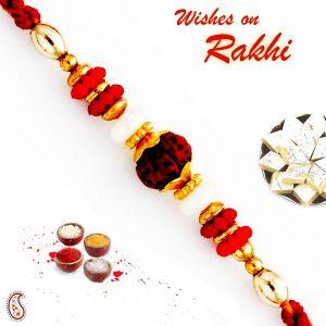 Buy Rakhi For Uae- Aapno Rajasthan Red & Golden Beads Studded Rudraksh Rakhi - Uae_rd17430 online