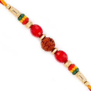 Buy Rakhi For Uae- Aapno Rajasthan Red Crystal Stone Studded Rudraksh Rakhi - Uae_rd17440 online
