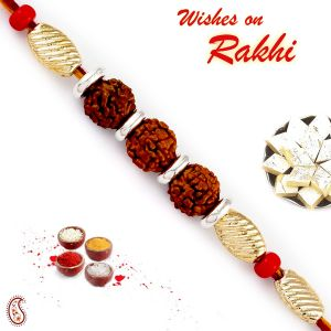 Buy Rakhi For Usa- Aapno Rajasthan Aapno Rajasthan Golden Cylindrical Beads Tri Rudraksh Rakhi - Us_rd17481 online