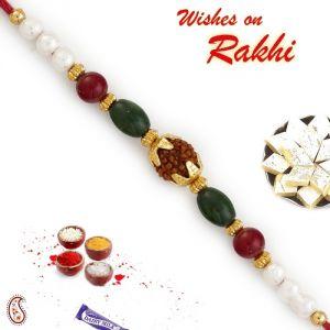 Buy Rakhi For Abroad_aapno Rajasthan Pearl & Multicolor Beads Studded Rudraksh Rakhi - Int_rd17484 online