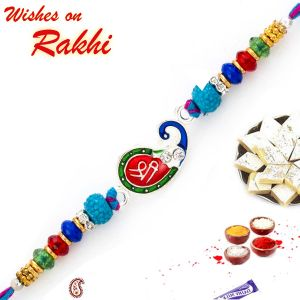 Buy Aapno Rajasthan Peacock Style Rakhi With Shree Motif - Rj17226 online