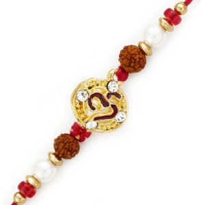 Buy Rakhi For Uae- Aapno Rajasthan Om Motif Rakhi With Pearl And Rudraksh - Uae_rj17242 online